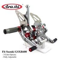 Arashi For SUZUKI GSXR600 2006 2007 2008 2009 2010 CNC Rider Rearset Adjustable Footrests Foot Pegs Footrest GSX R GSXR 600