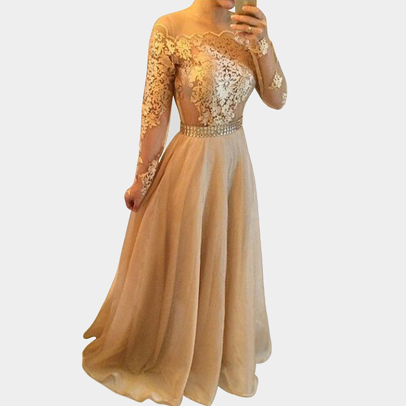 Elegant Champagne Prom Dress 2015 Long Sleeves Chiffon Lace Sheer Arabic Gold Formal Evening Gowns Plus Size - Lovestory Store store