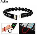 Aokin Buddha Beads Bracelet Charger USB Cable Charging For IOS Phone Samsung HTC LG Nokia Android Smart Phones Micro USB Cord