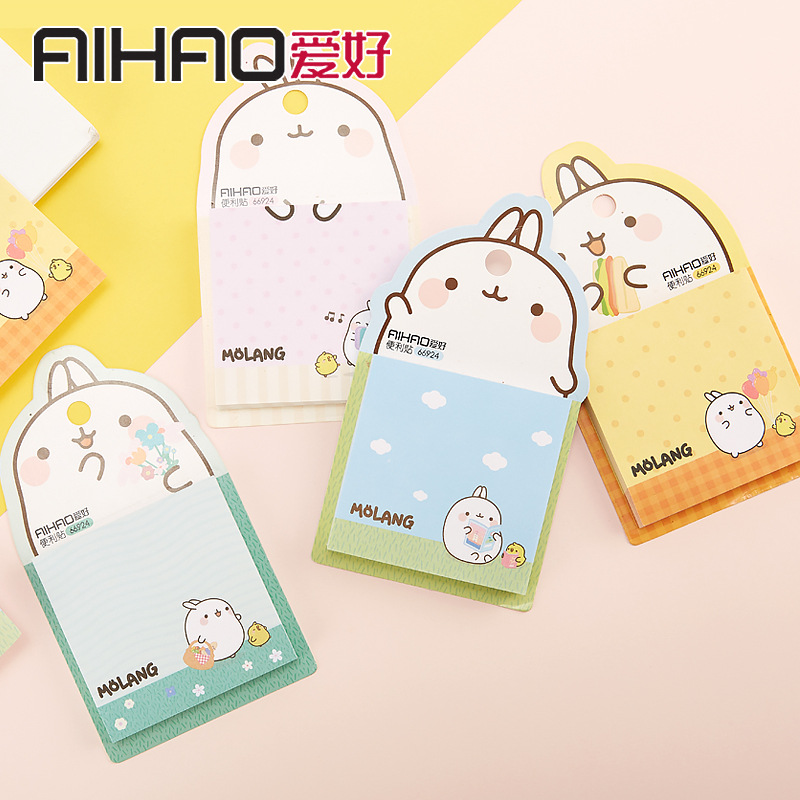 1 Set Memo Pads Sticky Notes Kawaii Cute Rabbit Paper Notepad Daliy Scrapbooking Stickers Office School Stationery Bookmark