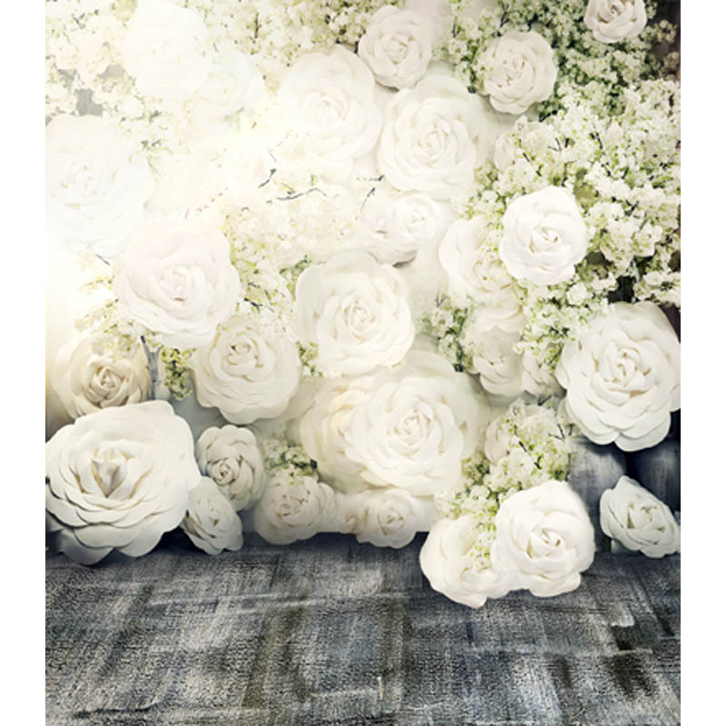wedding Thin fabric computer Printed photography background White roses photo backdrop for Studio 5X7ft CM-6908
