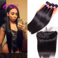 Lace Frontal Closure With Bundles 7A Brazilian Virgin Hair With Closure Straight Ear To Ear Lace Frontal With Hair Bundles