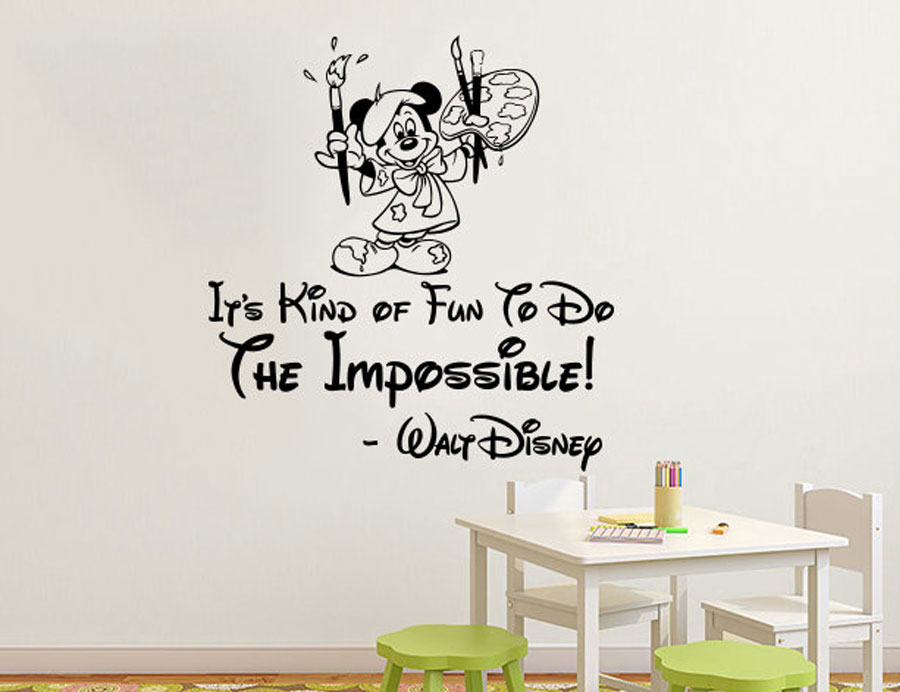 Wall Decals Quotes Mickey Mouse Vinyl Sticker Decal Quote Its Kind of Fun Baby Decor Bedroom Girl Boys Nursery K530