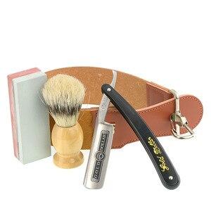 Image 3 - Golenie złoty dolar prosto Razor zestaw męska włosia szczotka do włosów skóra ostrzenie Strop Oilstone fryzjer golenie broda zestaw