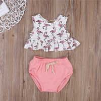 2019 Infant Newborn Kids Baby Girl Clothing Set Sleeveless Flamingo Top T-shirt + Triangle shorts Outfit Clothes 2PCS Set