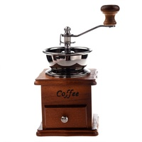 Manual coffee grinder Wood / metal hand mill Spice mill (wood color)