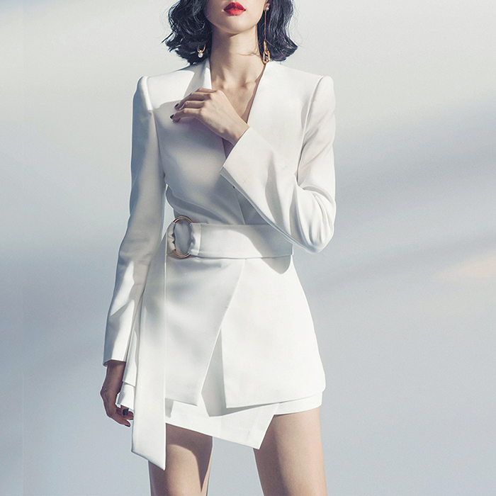 European Women Casual Skirt Suits Long Blazers Short Skirt White Twin Sets Cheap Price Plus Size Quality Two Pieces Set 17