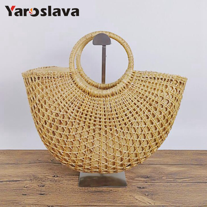Fashion Straw Woven Beach Bag Women Hand Rattan Women Tote Big Capacity Hollow Out Basket Handbag Fashion Solid Oval Bag LL756
