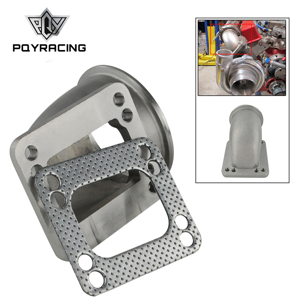 PQYRACING 2.5 Vband 90 Degree Cast Turbo Elbow Adapter Flange 304 Stainless Steel for T3 T4 Turbocharger