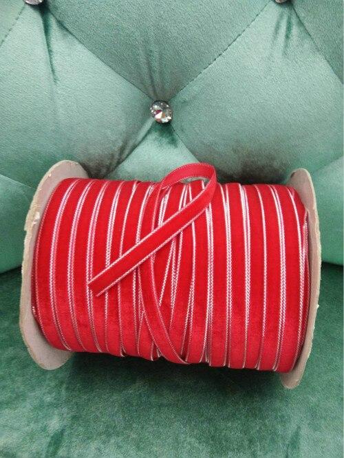 "DIY 5 ярдов 3/"" 10 мм мягкая удобная бархатная лента много цветов на выбор - Цвет: red"