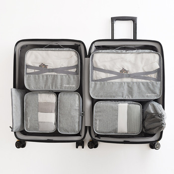 Wysokiej jakości 7 sztuk zestaw torba podróżna duży organizator podróży worek marynarski przenośny bagaż walizki torby kostki do pakowania torby Gament tanie i dobre opinie Torby podróżne Cationic Fabric NYLON WOMEN XZ-8644 0 52kg uovga 45cm Miękkie zipper Wszechstronny 29 5cm Podróż torba