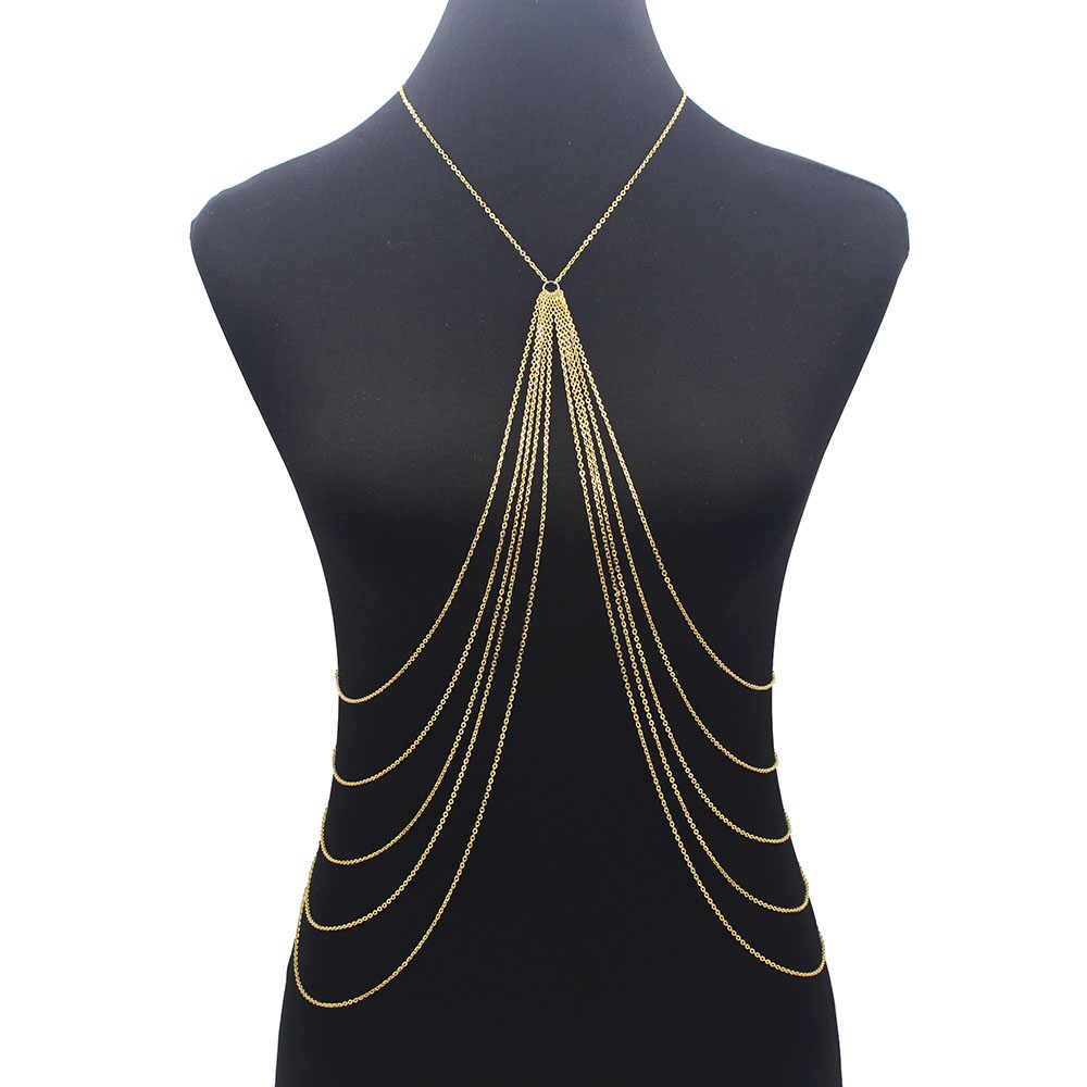 Long Tassel Body Chain Sexy Beach Gold Silver Color Disco party Accessories Bra Cross Body Chain Jewellery for Women