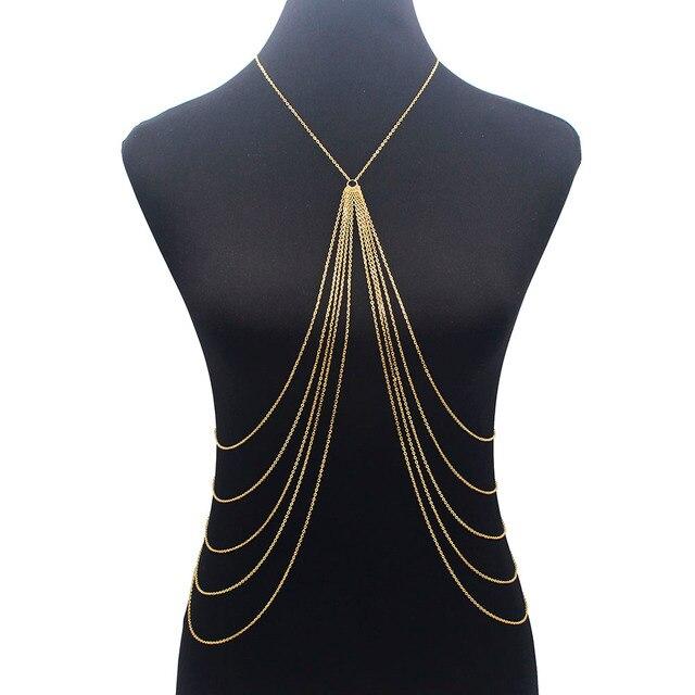 Cadena larga del cuerpo de la borla cadena atractiva de la playa oro plata Color Disco accesorios del partido Bra Cruz cadena del cuerpo joyería para las mujeres