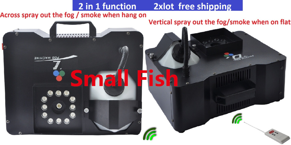 2xLot Free shipping 1500W Smoke Machine With LED lights Stage Effect Fog Machine Hood DJ Disco Wireless Remote Control Equipment цена 2017