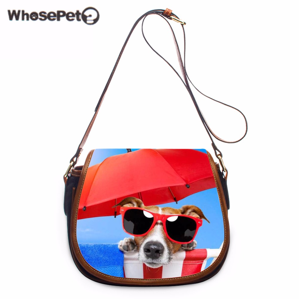 WHOSEPET Funny Dogs Printing One Shoulder Bags Women Messenger Bags Girls Sling Bag Stylish Satchel Handbag Ladies Purse Satchel stylish metal and canvas design satchel for women