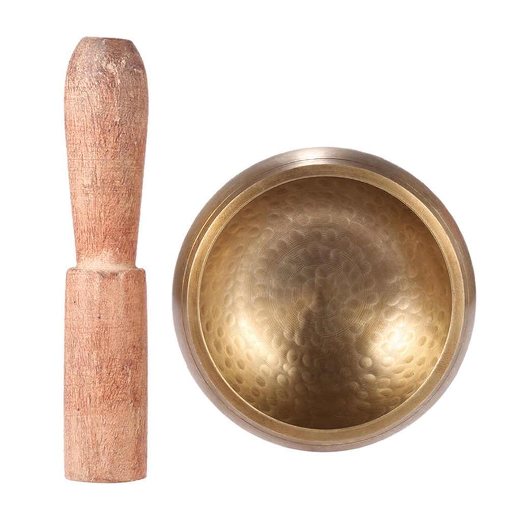 Kualitas Tinggi 2.8 Inci Handmade Tibet Bell Logam Bernyanyi Mangkuk dengan Striker Ajaran Buddha Meditasi Penyembuhan Relaksasi Yoga