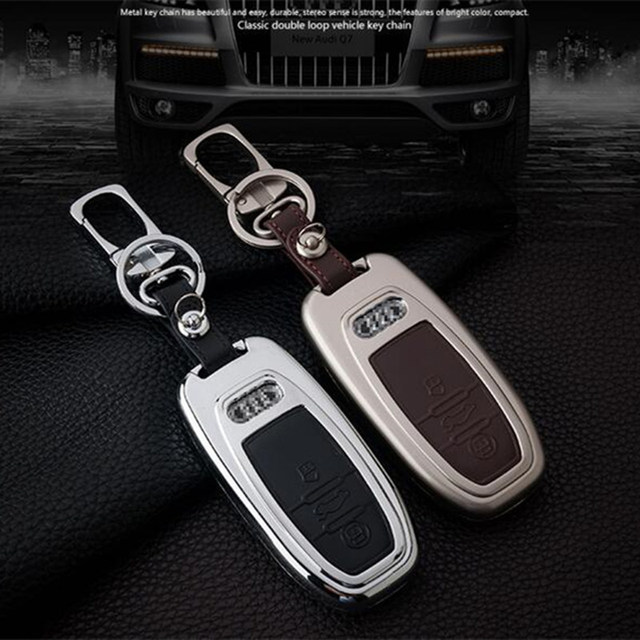 2018 New Luxurious Mental Leather Design Car Key Ring For Audi