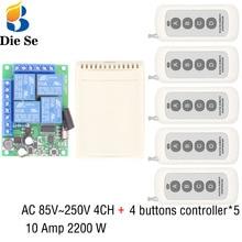 433MHz Universal Remote Control 110V 220V 250V 2200W 4CH Relay Receiver Module 4 Button Remote Control Garage door light Switch все цены