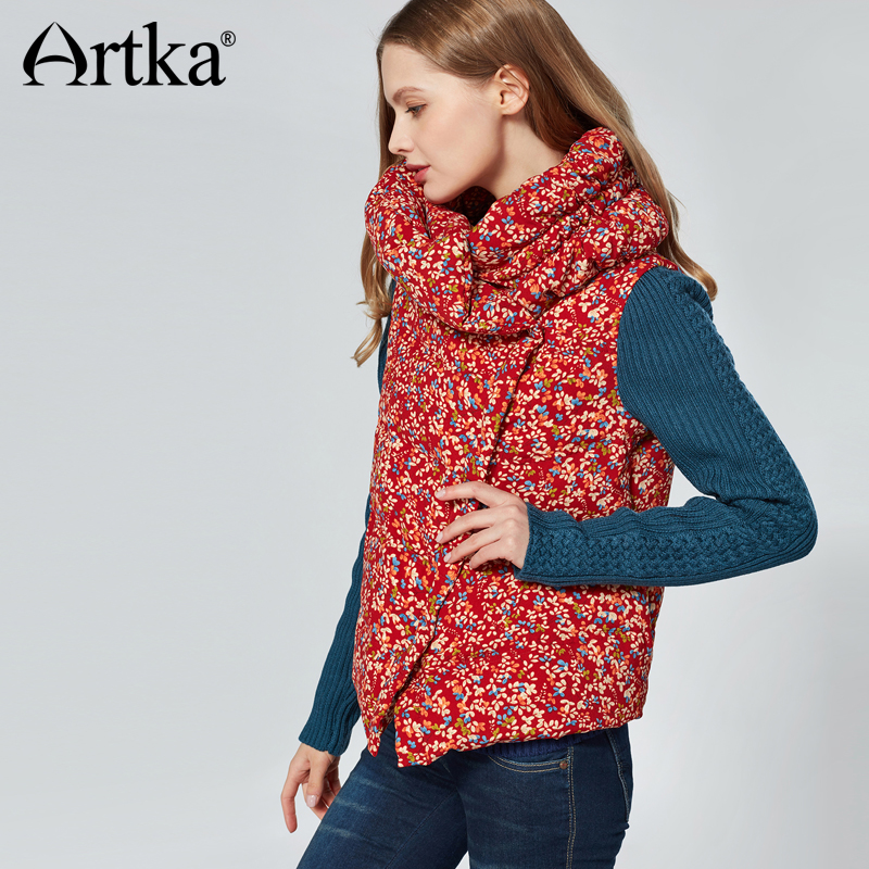 ARTKA Winter New Women's Red Short White Duck   Down     Coat   Patchwork Ethnic Floral Warm   Coat   Female Clothing DK10073D