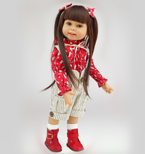 18 inch Full Vinyl American Girl Doll Realistic Little Girl Brown Long Hair