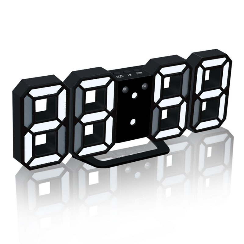 3D Digital Alarm Clock With USB Charge LED Snooze Dimmable Desktop Clocks For Living Room Home Office Decoration E2S