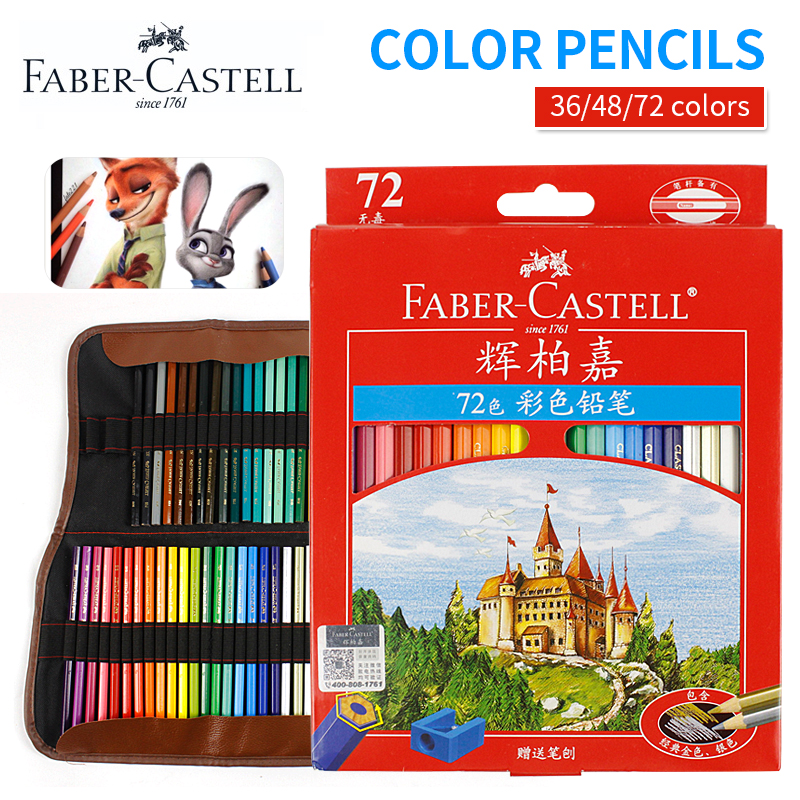 Faber-Castell 72 Colored Pencil Professional Lapis De Co r Artist Painting Oil Color Pen For Drawing Sketch School Supplies scribble scribble pen faber castell 25 pieces of pencil sketch sketch article carbon combination 112969