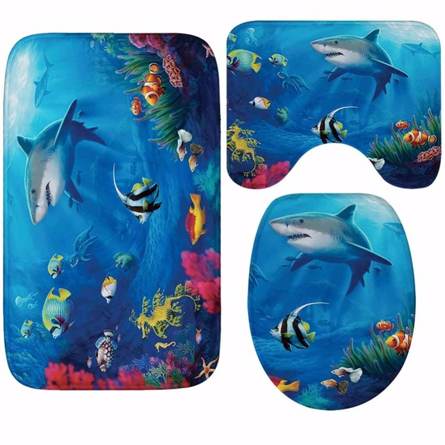 CAMMITEVER 3pcs Bathroom Bath Mat Shark Turtle Rug Household Bathroom Slip Mat Lid Toilet Covers Accessories