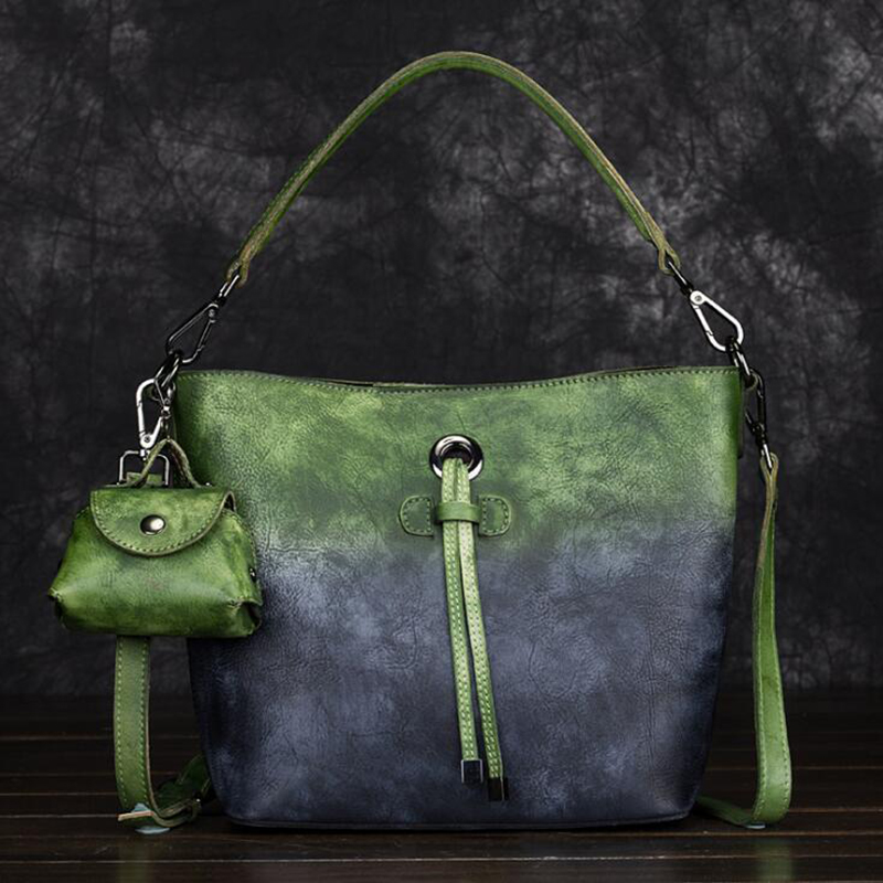 Genuine Leather Bag Ladies Handbag Women Bucket Shoulder Bags Vintage Women Messenger Bag Female Crossbody Bag Tote With Purse new arrival vintage women handbag genuine leather purse female small bag messenger crossbody bag hand painted women shoulder bag