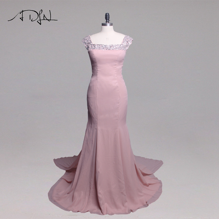 ADLN Chiffon   Bridesmaid     Dresses   Cap Sleeve Sparkling Stones Wedding Party   Dress     Bridesmaid   Gowns with detachable train