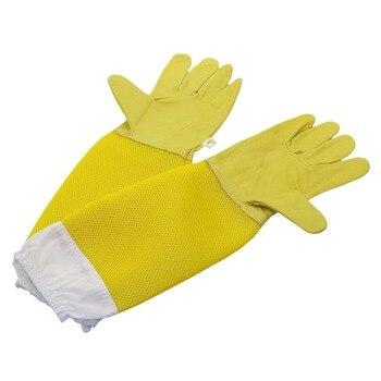 1 paar Bijenteelt Handschoenen Schapenvacht Ademend Materiaal Bee Gereedschappen Mesh Hollow Ademend Anti-bee Bijenteelt Handschoenen