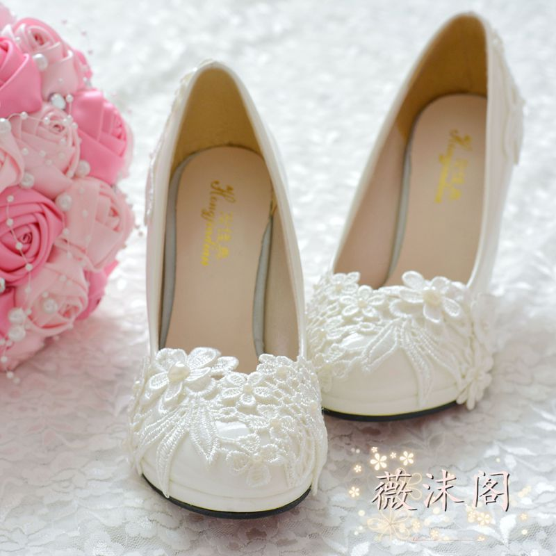 ФОТО Handmade wedding shoes white pearl high-heeled lace embroidered wedding shoes bridesmaid shoes formal dress shoes des