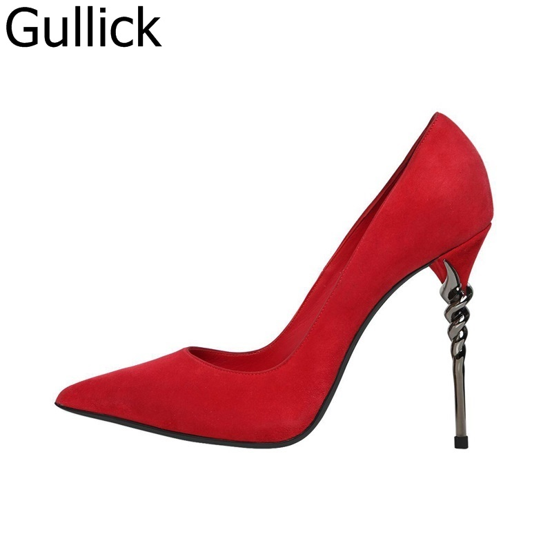 Women Summer Solid Red Flock Leather Pumps Fashion Metal High Heel Pointed Toe Slip On Shoes Hot Sale Shallow Dress Shoes shoes woman flock metal decoration pumps high heels sandals slip on pointed toe shoes shallow balck red pink gray khaki green