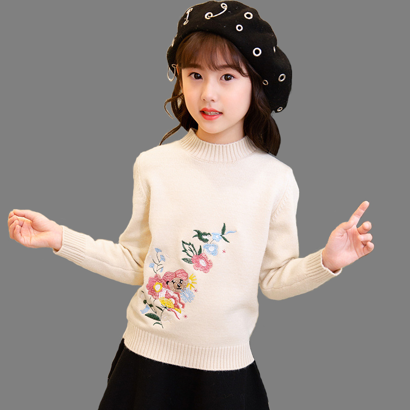 Girls Fleece Lined embroidery sweater Cartoon Cute Casual Cotton Girls Winter Clothes girls sweater for 6 7 8 9 10 12 14 yearsGirls Fleece Lined embroidery sweater Cartoon Cute Casual Cotton Girls Winter Clothes girls sweater for 6 7 8 9 10 12 14 years