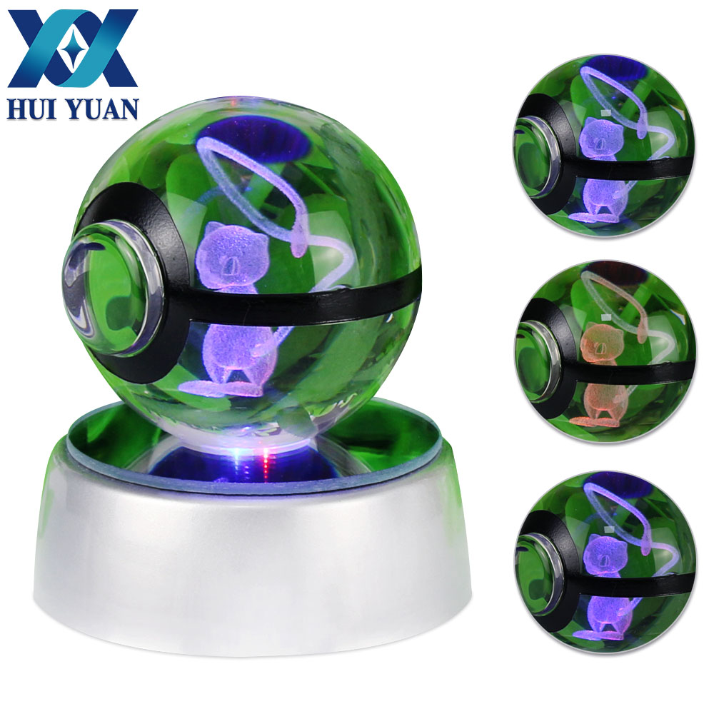 Mewtwo 3D Crystal Ball Pokemon Go 5CM Desktop Decoration Light Glass Ball LED Colorful Base Lamp Hadiah Anak HUI YUAN Brand