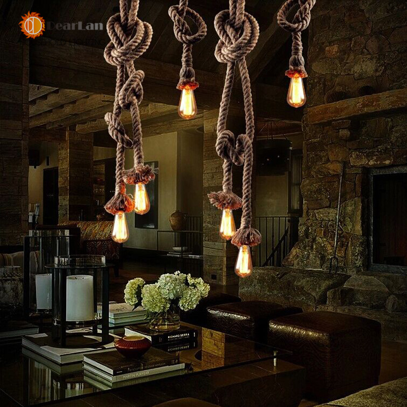 American Rustic Style Handmade Pendant Lamp With E27 Lamp Holders Hanging Rope Pestaurant Room Lamp Vintage