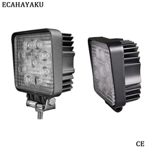 ECAHAYAKU 2Pcs 12V 24V 27W LED Car Work Light Bar Motorcycle Lamps Spot Foglight for Off Road SUV Jeep ATV