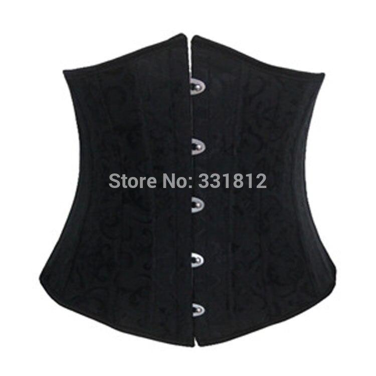 5pcs/lot waist   corsets   and   bustiers   black underbust   corset   steel cincher   bustiers   24 steel boned short corselet