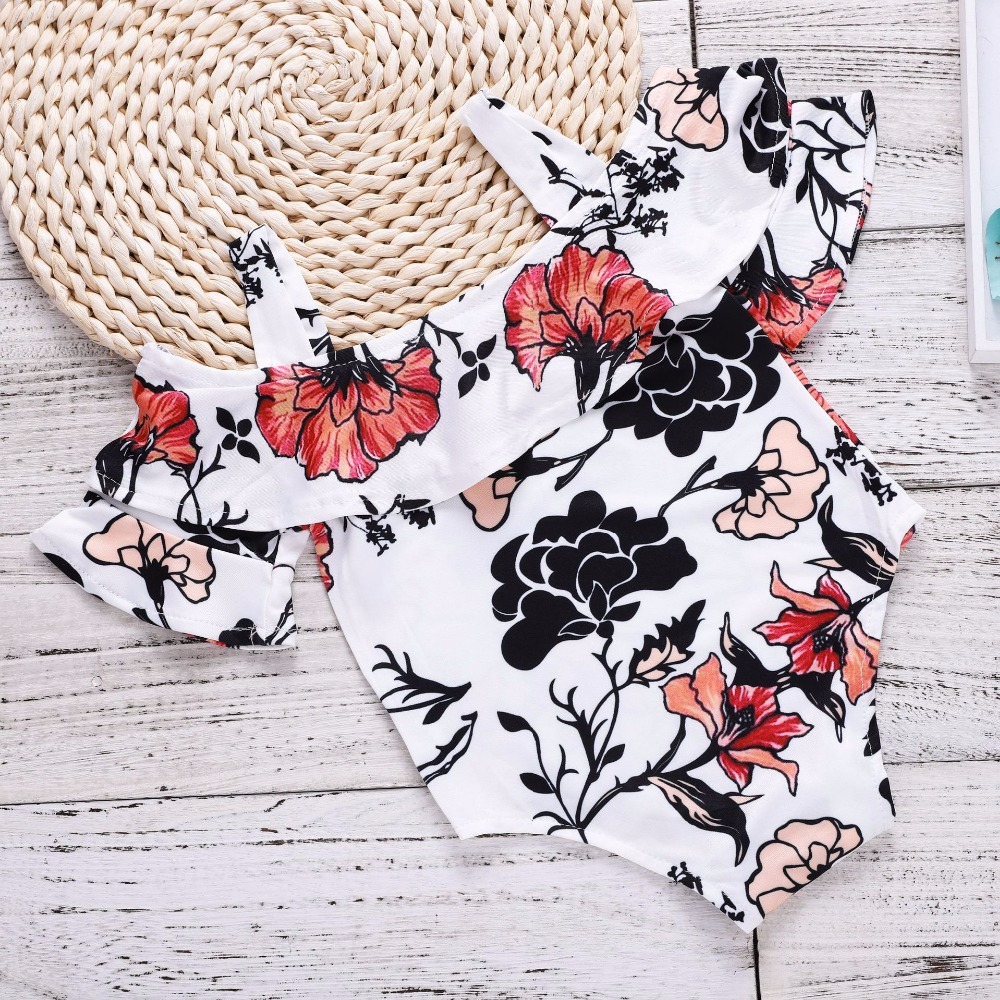 Baby Girl Clothes 2018 Girl Floral Romper Newborn Onesie Baby Girl Clothes Summer Newborn Girl Outfits Off Shoulder Lotus Leaf
