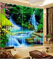 تخصيص الصورة طباعة الستائر نافذة شلال مشهد الستائر ل ستائر غرفة معيشة لغرفة النوم نافذة الستائر