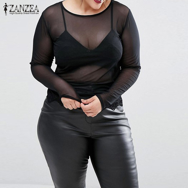 2017 ZANZEA Moda Mujeres Tops Camisas de Manga Larga de Encaje de Malla Sexy Blusas Patchwork Opacidad Strech Blusas Tallas grandes