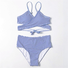 Cross Strap High Waist Bikini Women Pin Blue Stripe Bathing Suit Bandage Tie Swimsuit  Spaghetti Backless Set