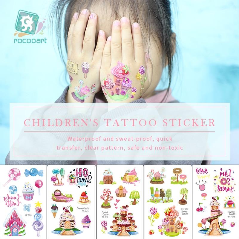 Rocooart Cartoon Candy Tattoo For Kids Castle Fake Tattoo Icecream Temporary Tattoo Sticker Children Birthday Gift Girls Party