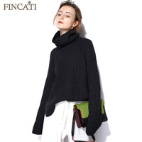 Women Pure Cashmere Sweater Fincati Notched Hem Asymmetrical Length Turtleneck Soft Thicken Winter Spring Pullover