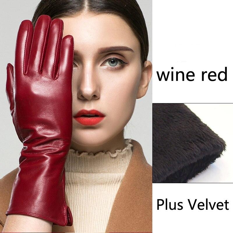 Gants en cuir De Mode Femmes Élégantes Gants Hiver Chaud Plus de Velours Plein Air Conduite Longs Gants Mitaines Gants En Peau de Mouton