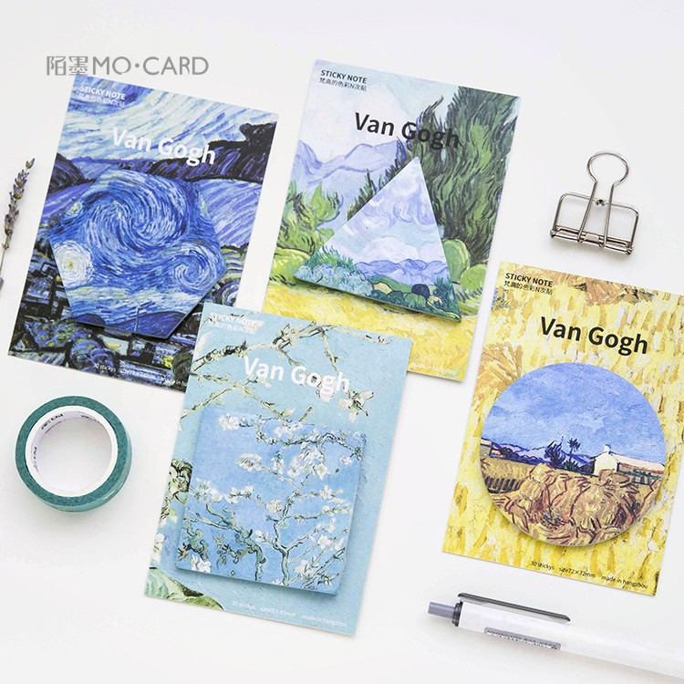 4pcs/lot Cute Van Gogh Oil Painting Notebook Memo Pad Self-Adhesive Sticky Notes Office School Supplies 2018 pet transparent sticky notes and memo pad self adhesiv memo pad colored post sticker papelaria office school supplies