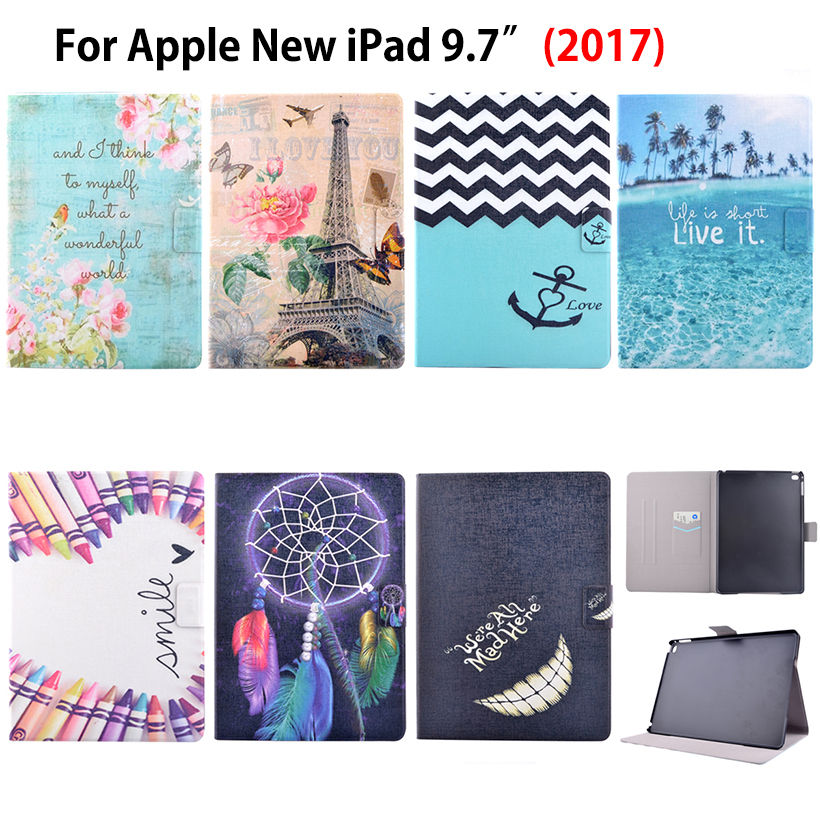 Fashion Printed Case For Apple New iPad 9.7 2017 Case Smart Cover Funda Tablet Model A1822 A1823 PU Leather Flip Stand Shell pu leather book flip cover case for new ipad 9 7 2017 release a1822 a1823 model tablet folio stand cases luxury black gold