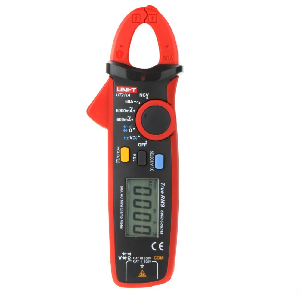 UNI-T UT211A High Resolution True RMS Mini Clamp Meters Auto Range V.F.C. NCV Capapictance Tester W/ Relative Mode uni t ut216c 600a true rms digital clamp meters auto range w frequency capacitance temperature