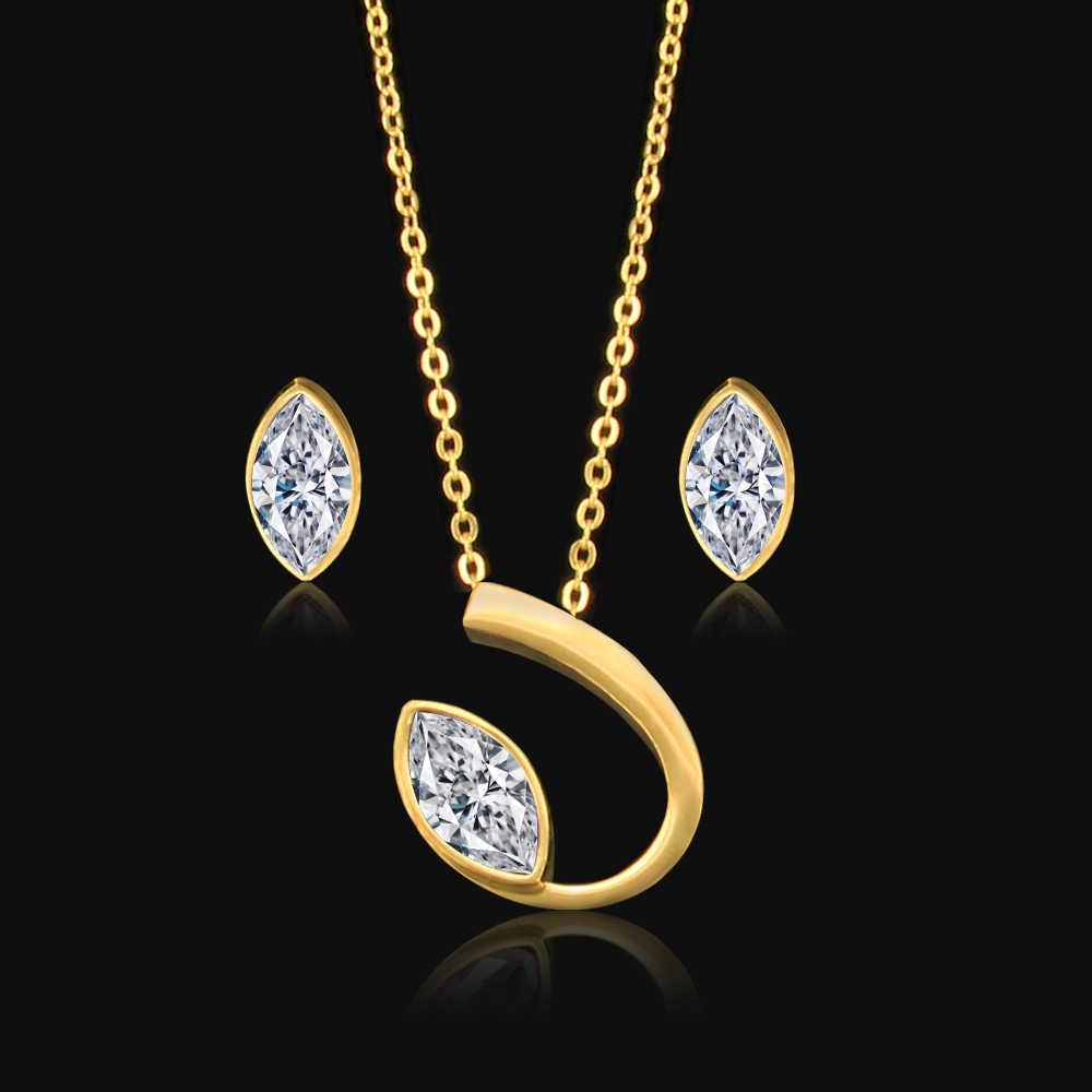 Mode Braut Dubai Titan stahl Schmuck Sets Zubehör Schmuck weiß stud Ohrringe kette halskette set Für Frauen