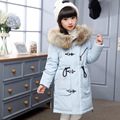 2016 Fashion Girls Winter Coat Korean Down Padded Zipper Kids Winter Long Jacket Girls Boys Coats Outwear for Children