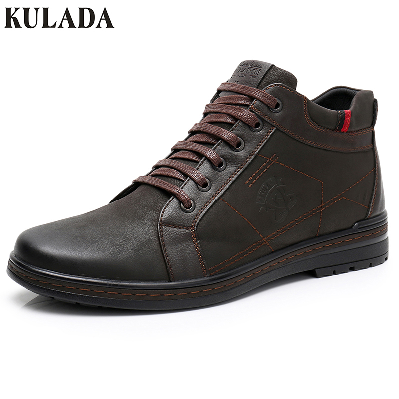 KULADA Hot Top Quality Men Boots Men Winter Comfortable Ankle Shoes Casual Boots Zipper Side Men Handmade Cow Suede Footwear